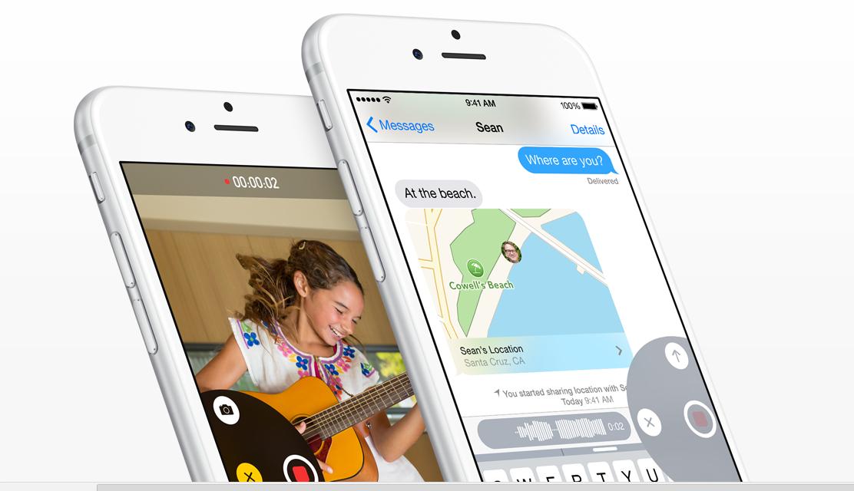 iOS 8 messaging interface