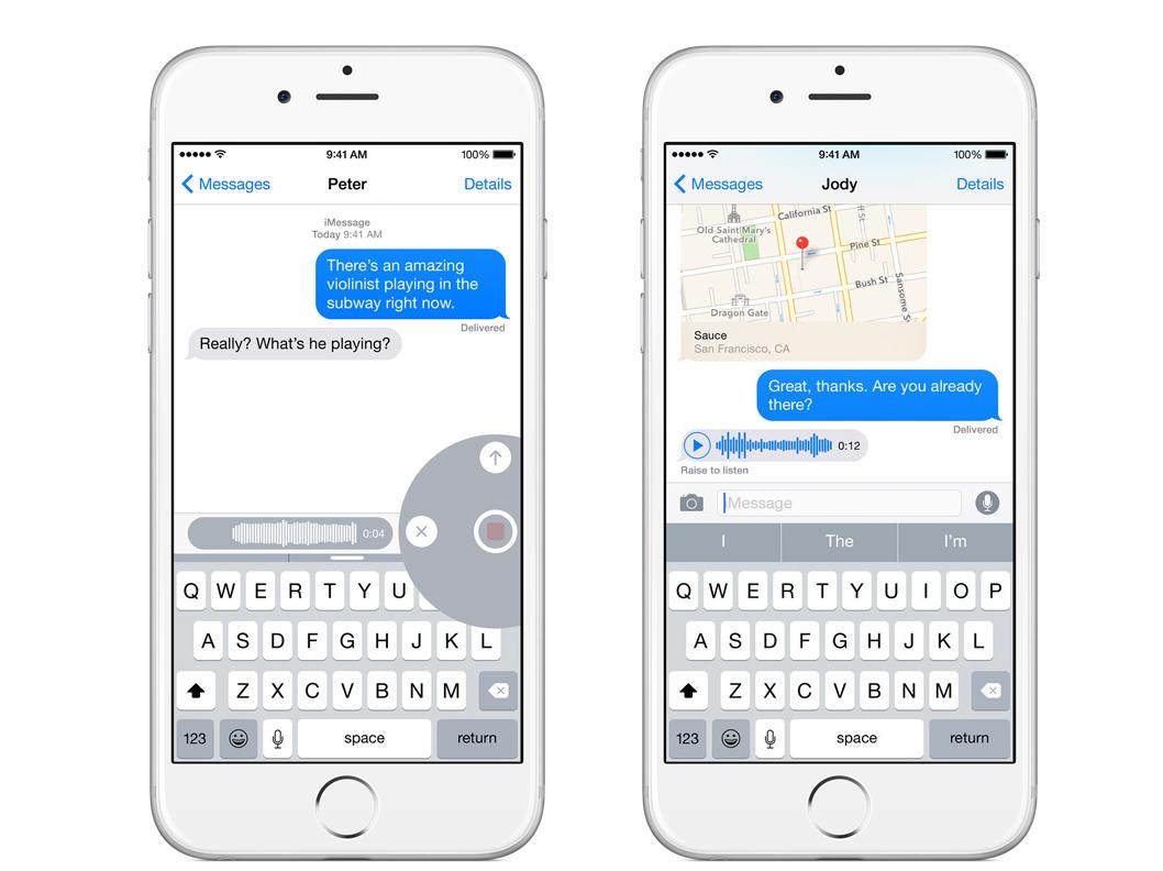 iOS 8 voice message interface