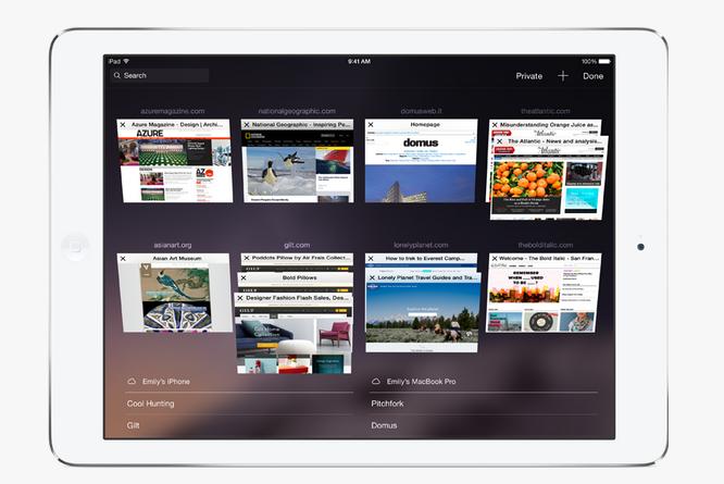 Safari on Apple iOS 8