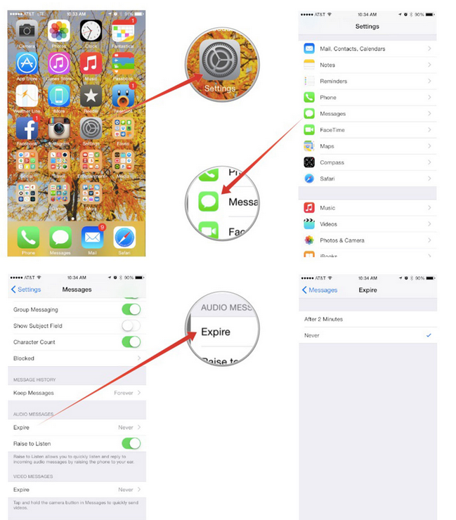edit expiration settings for audio messages iOS 8