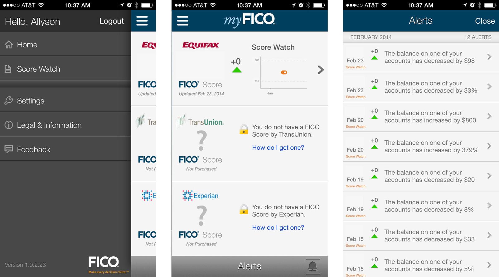 myFico app for iOS 8