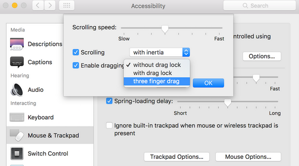How to enable three fingers track pad on OS X Ei Capitan