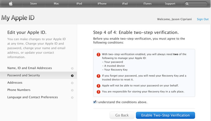 How to set up two-step verification for your Apple ID4