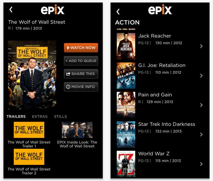 EPIX app for iPhone and iPad