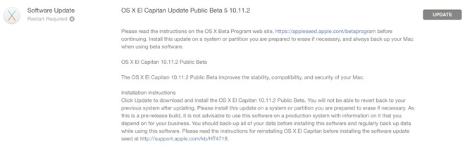 Apple releases OS X 10.11.2 beta 5 to developers and testers